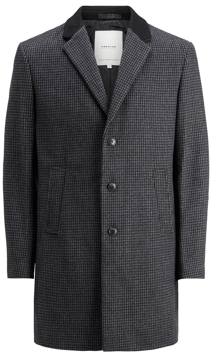 Пальто мужское Jack & Jones, цвет: темно-серый. 12123300_Dark Grey Melange. Размер S (44)