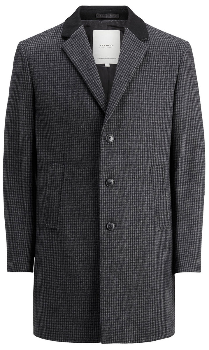 Пальто мужское Jack & Jones, цвет: темно-серый. 12123300_Dark Grey Melange. Размер S (44) пальто мужское emperor kaimasi 6181 2014