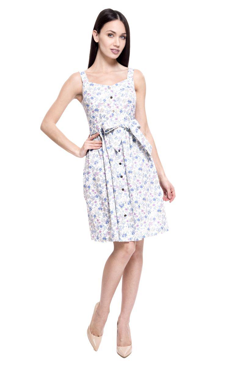 Платье Lusio, цвет: голубой. SS18-020307. Размер L (46/48)SS18-020307Летнее платье от Lusio выполнено из натурального хлопка. Модель на широких бретелях спереди застегивается на кнопки по всей длине, на талии дополнена текстильным поясом.