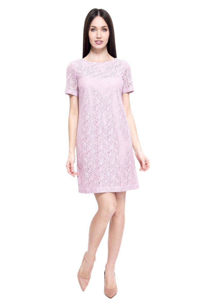 Платье Lusio, цвет: розовый. SS18-020156. Размер XS (40/42)SS18-020156Элегантное платье от Lusio выполнено из ажурного материала. Модель прямого кроя с короткими рукавами и круглым вырезом горловины на спинке застегивается на металлическую молнию.
