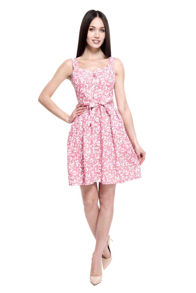 Платье Lusio, цвет: розовый. SS18-020247. Размер XS (40/42)SS18-020247Летнее платье от Lusio выполнено из натурального хлопкового материала. Модель на широких бретелях и с фигурным вырезом на талии дополнена текстильным поясом.