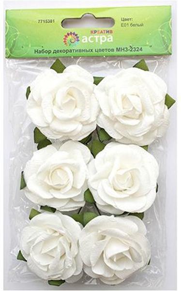 Набор декоративных цветов Астра, цвет: белый, 4,3 х 2 см, 6 шт7715381_E01 белыйЦветы из бумаги, со стебельком из проволоки. Назначение: скрапбукинг, создание венков, авторских новогодних украшений, оформление подарочных коробок и пакетов и многое другое.Размер: 4,3х2 см.В упаковке: 6 цветков.