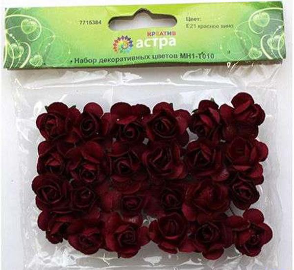 Набор декоративных цветов Астра, цвет: бордовый, 2 х 2 см, 24 шт7715384_E21 красное виноНебольшие букетики на проволочном стебельке могут использоваться в технике «скрапбукинг», а также для декорирования открыток, рамок для фотографий, в других видах творчества.Размер цветков: 2 х 2 см.В упаковке 24 цветка.