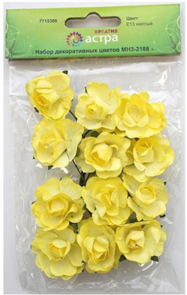 Набор декоративных цветов Астра, цвет: желтый, 3 х 1,5 см, 12 шт7715380_E13 желтыйБумажные цветы с проволочным стебельком. Назначение: скрапбукинг, создание авторских бутоньерок, украшение предметов интерьера и другого.Размер цветков: 3 х 1,5 см.В упаковке: 12 цветков.