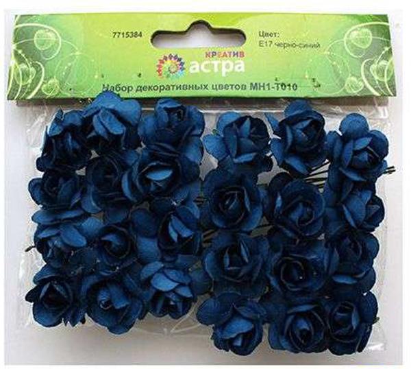 Набор декоративных цветов Астра, цвет: синий, 2 х 2 см, 24 шт7715384_E17 черно-синийНебольшие букетики на проволочном стебельке. Назначение: скрапбукинг, декорирование открыток, рамок для фотографий, другие виды творчества.Размер: 2х2 см.В упаковке 24 цветка.
