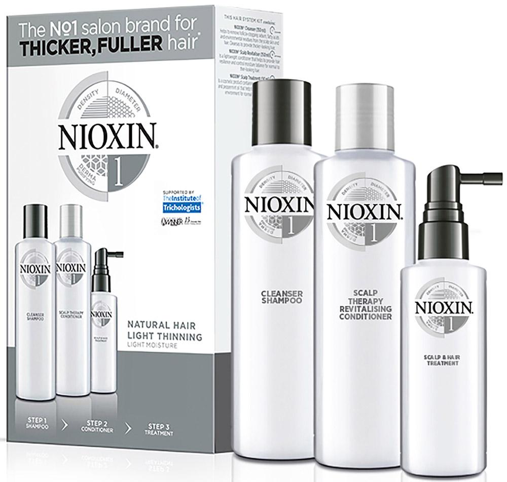 Nioxin System Набор (Система 1) 1 Kit 150 мл+150 мл+50 мл сыворотка для волос evinal с плацентой для укрепления волос 150 мл