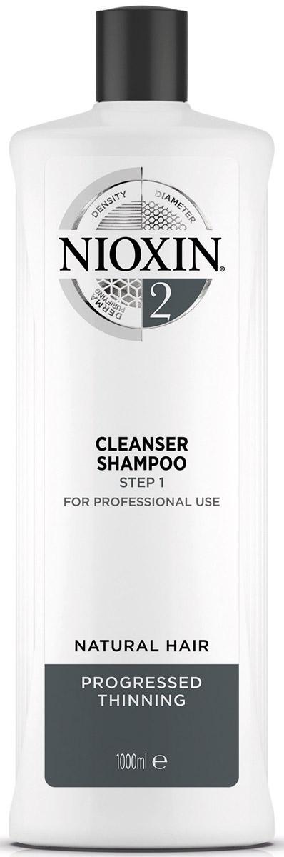 Nioxin Очищающий шампунь (Система 2) Cleanser System 2, 1000 мл81274134Шампунь очищающий Система 2 Cleanser System 2 Nioxin бережно и деликатно очищает кожу головы и волосы, а также придает им объем и густоту. Средство нейтрализует продукты внешней среды и глубоко питает структуру волос. Благодаря комплексу протеинов и аминокислот, которые входят в состав очищающего шампуня от Ниоксин, волосяная кутикула восстанавливается, и волос выглядит толще.89% потребителей, которые попробовали систему, заметили эффект утолщения волос** на основе опроса среди 230 американских экспертов, обеспокоенных истончением волос, проведенного SIRS, 2016.