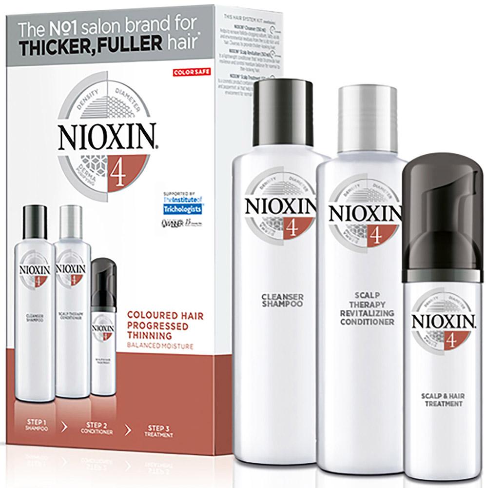 Nioxin System Набор (Система 4) 4 Kit 150 мл+150 мл+40 мл81274205Придание волосам визуальной густоты и объема, а также восстановление баланса влажности при помощи 3-ступенчатой системы Nioxin System 4 для окрашенных, истонченных волос. Система включает в себя три продукта, которые укрепляют волосы, предотвращая их выпадение и повреждение кутикулы, а также придает им густой вид. 3-х ступенчатая система создана для очищения, увлажнения и питания окрашенных волос, с сохранением их цвета. Очищающий шампунь Nioxin (150 мл): удаляет себум и другие загрязнения с волос и кожи головы. Увлажняющий кондиционер для кожи головы и волос Nioxin (150 мл): легкий кондиционер восстанавливает упругость волос, помогает контролировать баланс увлажнения кожи головы и волос. Питательная маска (40 мл): предотвращает выпадение волос из-за повреждения кутикулы, обеспечивая восстановление кожи головы