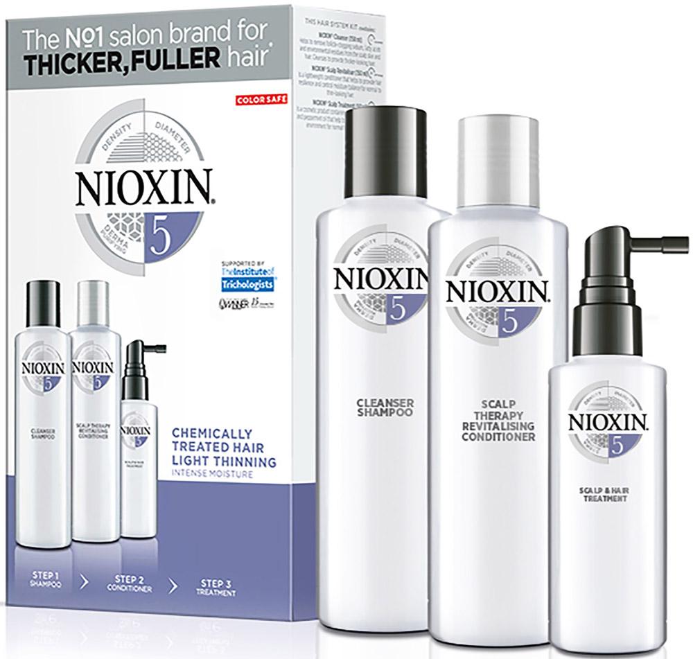 Nioxin System Набор (Система 5) 5 Kit 150 мл+150 мл+40 мл81274208Придание волосам визуального объема и их увлажнение при помощи инновационной 3-ступенчатой системы System 5 Nioxin для химически обработанных и с тенденцией к истончению волос. Система включает в себя три продукта и, благодаря технологии SmoothPlex, придает объем волосам, увлажняет их и делает гладкими, а также восстанавливает кожу головы. 3-ступенчатая система System 5 Nioxin укрепляет волосы, предотвращая их выпадение или повреждение. Очищающий шампунь Nioxin Cleanser 5 (150 мл): удаляет себум и другие загрязнения. Увлажняющий кондиционер для кожи головы Nioxin Conditioner 5 (50 мл): легкий кондиционер восстанавливает упругость волос, помогает контролировать баланс увлажнения кожи головы и волос. Питательная масеп Scalp & Hair системы System 5 Nioxin (40 мл): восстанавливает кожу головы и придает волосам здоровый блеск.