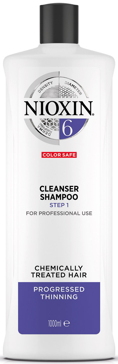 Nioxin Cleanser Очищающий шампунь (Система 6) System 6, 1000 мл81274185Шампунь очищающий Система 6 предназначен для жестких волос, которые склонны к выпадению. Средство бережно очищает и смягчает кожу головы, снабжая ее полезными компонентами. Таким образом, шампунь от Ниоксин питает корни волос и предотвращает их выпадение. Также средство освежает кожу головы. После применения шампуня от Nioxin волосы становятся мягкими и здоровыми, они выглядят пластичными и блестящими, а кожа головы защищена от внешнего влияния.