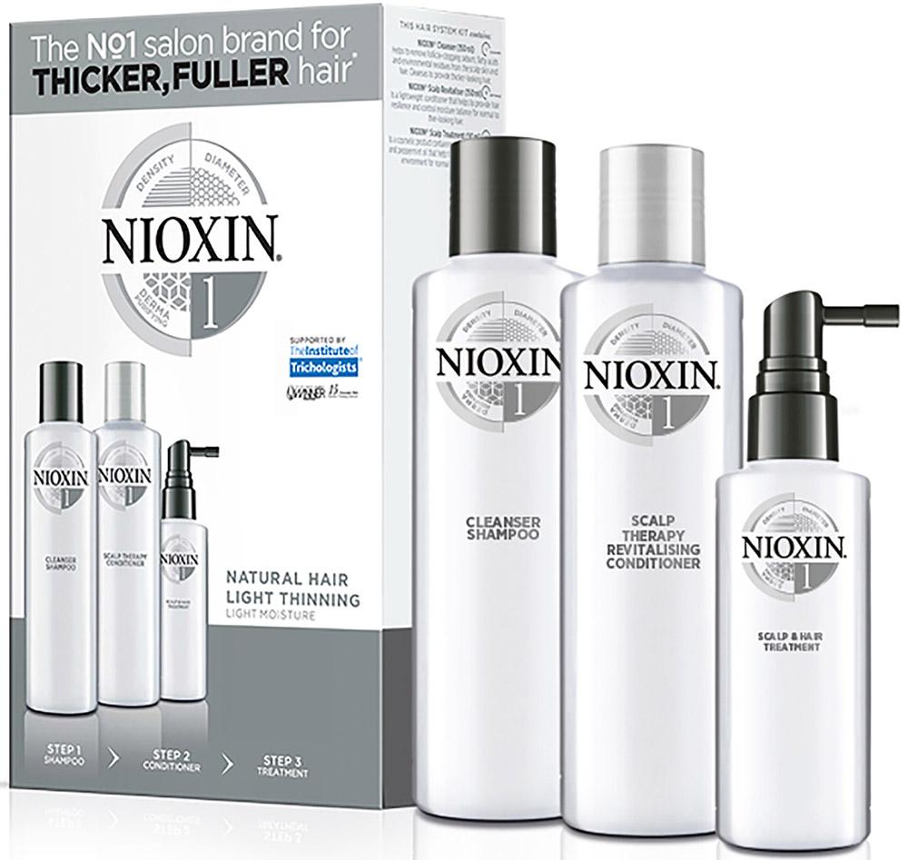 Nioxin System 1 Kit XXL - Набор (Система 1) 300 мл+300 мл+100 мл81543675/7848В набор Nioxin System 1 Kit входят: Шампунь Очищение 300 мл - придающий объём очиститель Кондиционер Увлажнение 300 мл - придающий объём кондиционер Маска Питание 100 мл - придающая объём и питающая волосы маска
