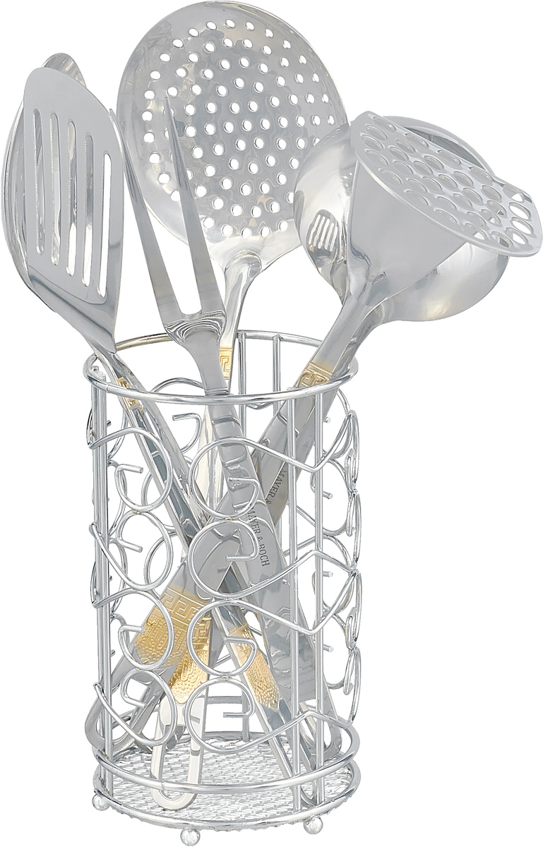 """Профессиональный кухонный набор """"Mayer & Boch"""" очень удобен в использовании, имеет стильную стальную подставку в форме стакана, которая прекрасно впишется в любой кухонный интерьер. Удобные ручки изделий имеют глянцевую полировку и декорированы нежным золотым узором, также на ручках есть отверстия для подвешивания. Высококачественная нержавеющая сталь CrNi 18/10, из которой выполнены рабочие поверхности, идеально подходит для приготовления пищи, предметы набора не окислятся со временем и не испортят вкус Ваших блюд. Кухонный набор придаст Вашей кухне элегантность, поднимет Ваше настроение и превратит приготовление еды в настоящее удовольствие! Подходит для мытья в посудомоечной машине."""