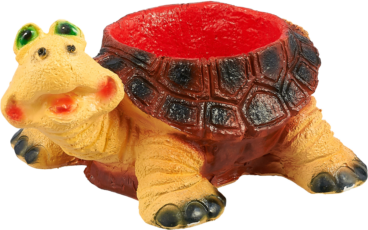 Кашпо Удивленная черепаха, цвет: красный, желтый, 30 х 25 х 16 см ваза mughal l 20 х 20 х 30 см