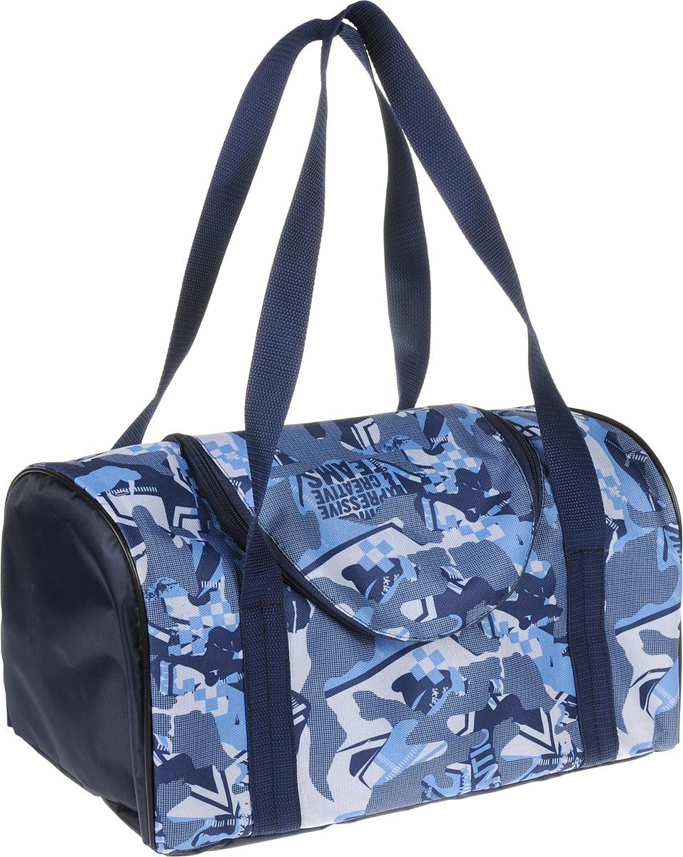 Сумка-переноска для животных Теремок, цвет: синий, голубой, белый, 38 х 20 х 22 см сумка переноска для животных теремок цвет голубой синий белый 44 х 19 х 20 см