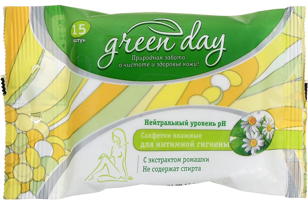Greenday Салфетки влажные для интимной гигиены, 15 шт