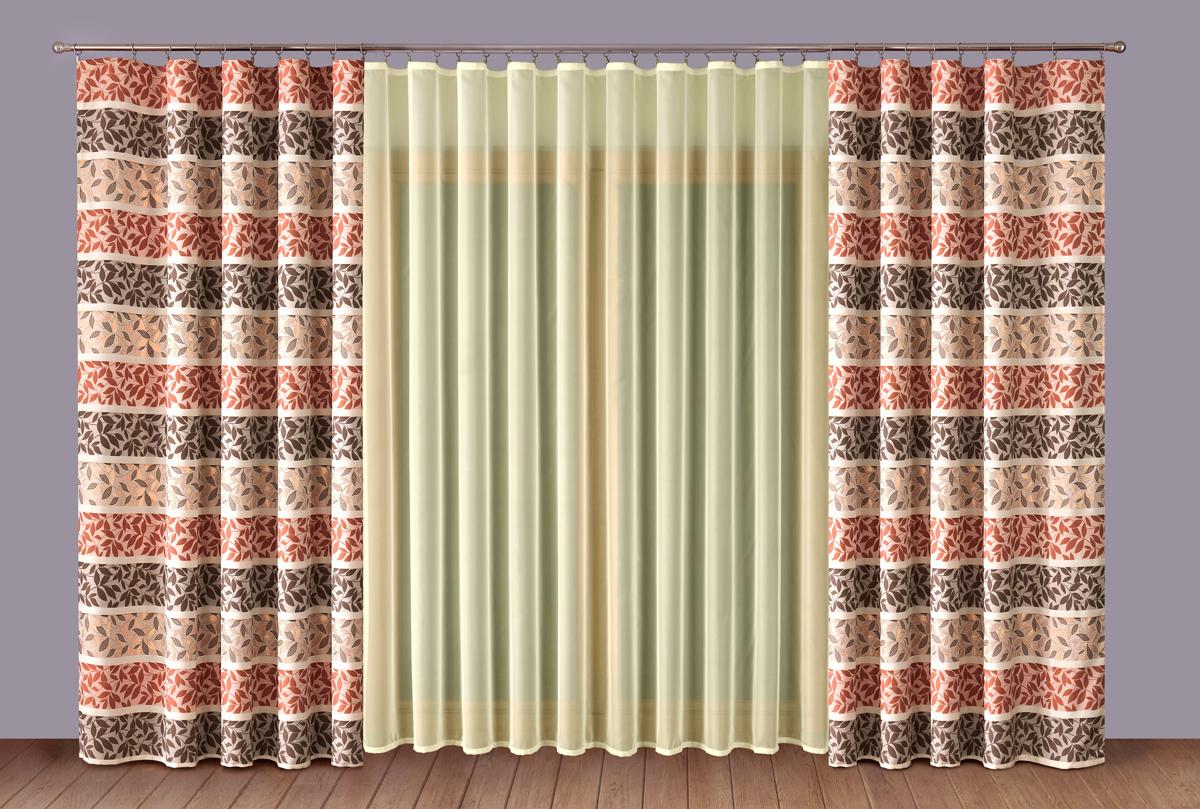 """Комплект штор """"P Primavera Firany"""" выполненный из полиэстровой жаккардовой ткани, великолепно украсит любое окно.  Изящный рисунок и приятная цветовая гамма привлекут к себе внимание и органично впишутся в интерьер помещения.   Этот комплект будет долгое время радовать вас и вашу семью!"""