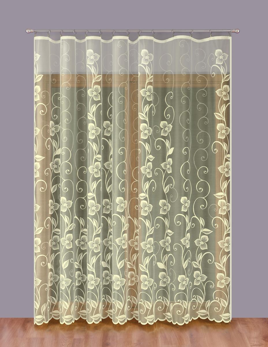 Тюль P Primavera Firany, на ленте, цвет: кремовый, высота 250 см, ширина 300 см. 11101681110168Тюль P Primavera Firany нежного цвета изготовлен из 100% полиэстера. Воздушная ткань привлечет к себе внимание и идеально оформит интерьер любого помещения. Полиэстер - вид ткани, состоящий из полиэфирных волокон. Ткани из полиэстера легкие, прочные и износостойкие. Такие изделия не требуют специального ухода, не пылятся и почти не мнутся. Крепление к карнизу осуществляется при помощи вшитой шторной ленты.