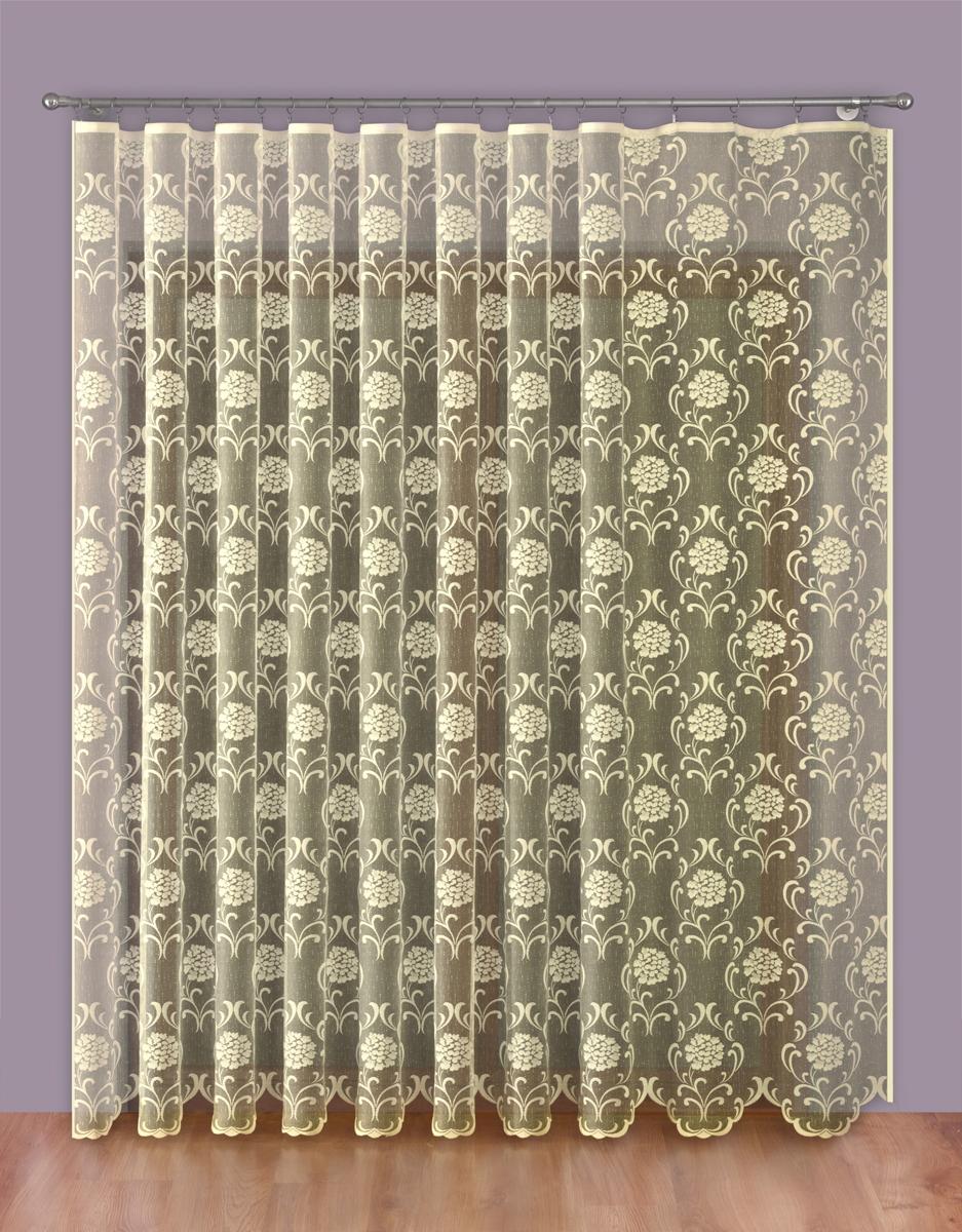 Тюль P Primavera Firany, на ленте, цвет: кремовый, высота 250 см, ширина 200 см. 11102761110276Тюль P Primavera Firany нежного цвета изготовлен из 100% полиэстера. Воздушная ткань привлечет к себе внимание и идеально оформит интерьер любого помещения. Полиэстер - вид ткани, состоящий из полиэфирных волокон. Ткани из полиэстера легкие, прочные и износостойкие. Такие изделия не требуют специального ухода, не пылятся и почти не мнутся. Крепление к карнизу осуществляется при помощи вшитой шторной ленты.