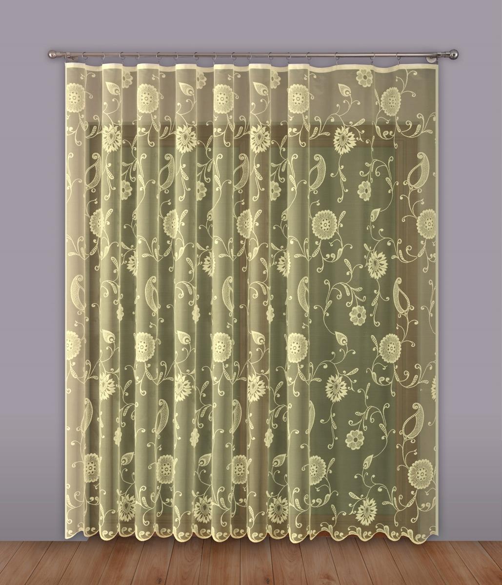 Тюль P Primavera Firany, на ленте, цвет: кремовый, высота 270 см, ширина 500 см. 11102991110299Тюль P Primavera Firany нежного цвета изготовлен из 100% полиэстера. Воздушная ткань привлечет к себе внимание и идеально оформит интерьер любого помещения. Полиэстер - вид ткани, состоящий из полиэфирных волокон. Ткани из полиэстера легкие, прочные и износостойкие. Такие изделия не требуют специального ухода, не пылятся и почти не мнутся. Крепление к карнизу осуществляется при помощи вшитой шторной ленты.