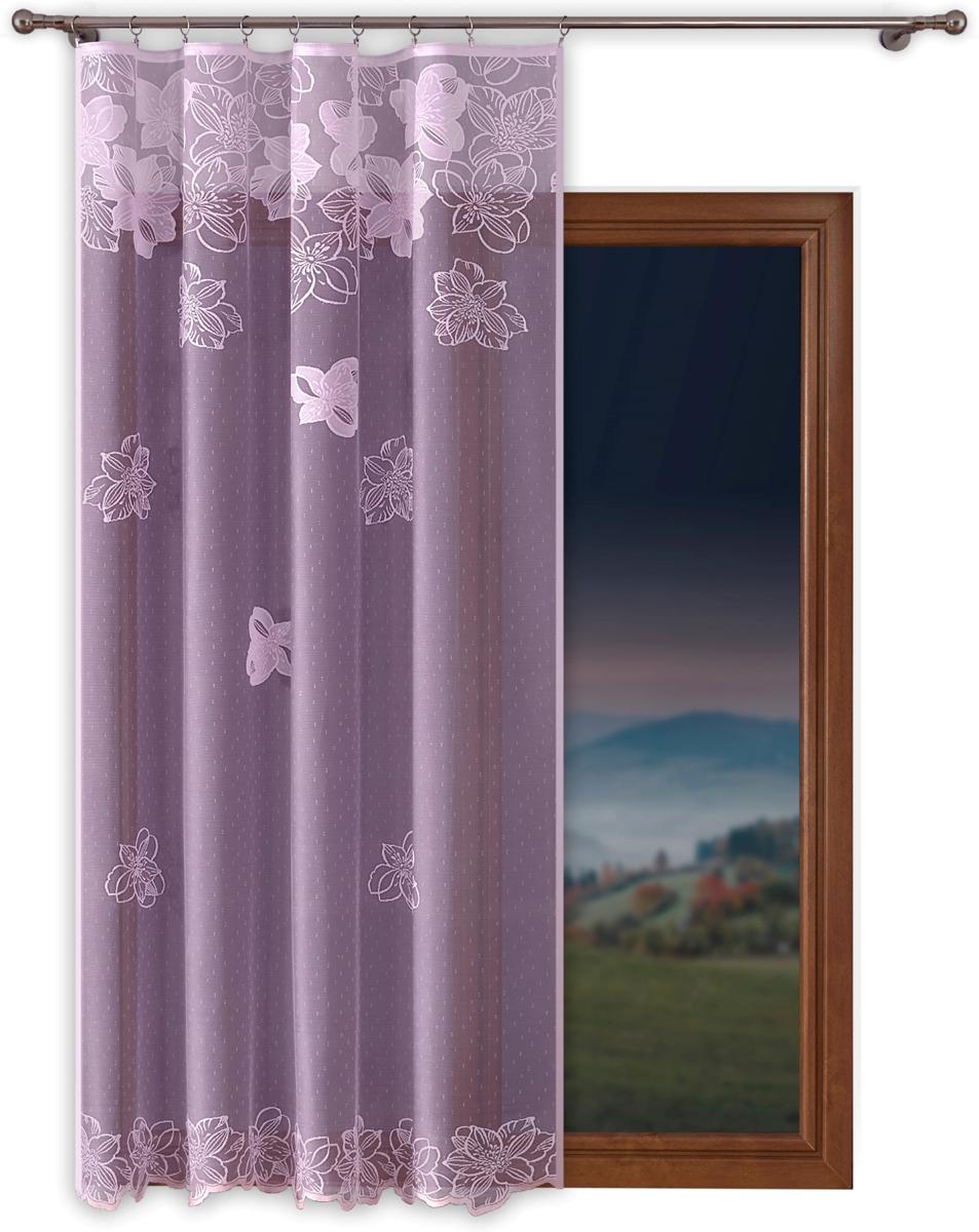 """Тюль """"P Primavera Firany"""", на ленте, цвет: сиреневый, высота 250 см, ширина 160 см. 1110356"""