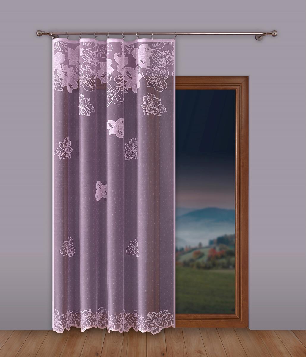 """Тюль """"P Primavera Firany"""", на ленте, цвет: сиреневый, высота 250 см, ширина 300 см. 1110357"""