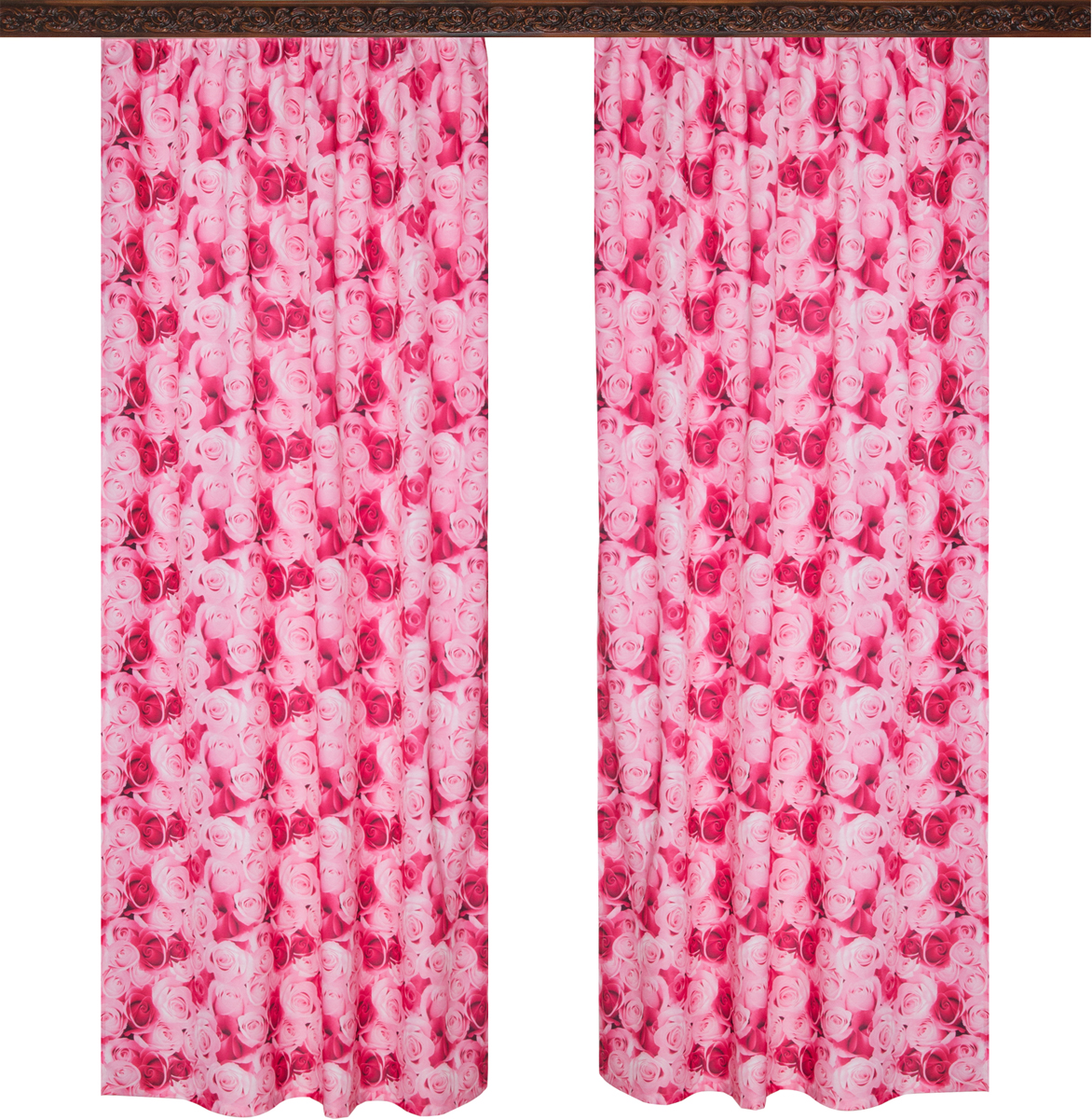 Комплект штор Zlata Korunka, на ленте, цвет: малиновый, высота 250 см, 2 шт. 777110777110Роскошный комплект штор Zlata Korunka комплект состоит из двух штор, выполненных из 100% полиэстера, которые великолепно украсит любоеокно. Плотная ткань, оригинальный орнамент и приятная, приглушенная гамма привлекут к себе внимание и органично впишутся в интерьерпомещения.Комплект крепится на карниз при помощи шторной ленты, которая поможеткрасиво и равномерно задрапировать верх. Этот комплект будет долгое время радовать вас и вашу семью!