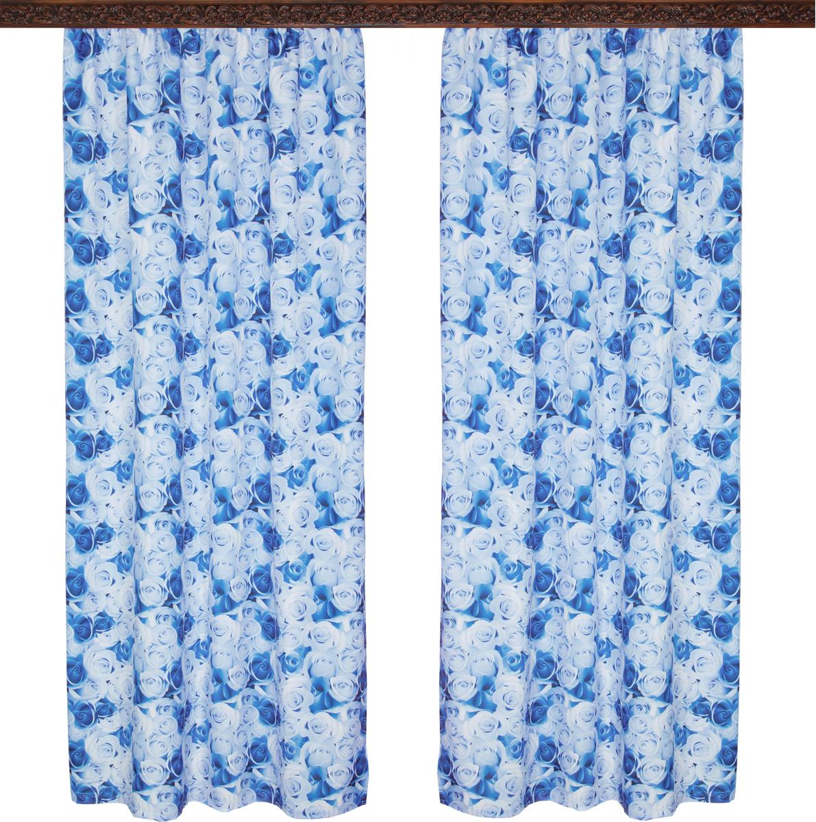 Комплект штор Zlata Korunka, на ленте, цвет: синий, высота 250 см, 2 шт. 777112 комплект штор zlata korunka 55534