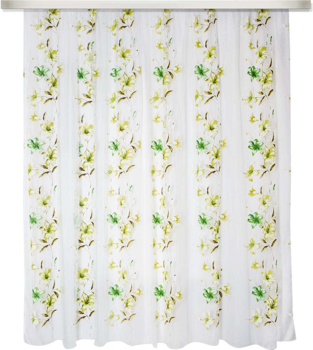 Тюль Zlata Korunka, на ленте,цвет: зеленый, высота 270 см, ширина 400 см777124Тюль Zlata Korunka, изготовленный из 100% полиэстера, великолепно украсит любое окно.Воздушная ткань и приятная, приглушенная гамма привлекут к себе внимание и органичновпишутся в интерьер помещения.Полиэстер - вид ткани, состоящий из полиэфирных волокон. Ткани из полиэстера -легкие, прочные и износостойкие. Такие изделия не требуют специального ухода, не пылятся ипочти не мнутся. Крепление к карнизу осуществляется с использованием ленты-тесьмы.Такой тюль идеально оформит интерьер любого помещения.Рекомендациипо уходу: - ручная стирка, - можно гладить, - нельзя отбеливать.