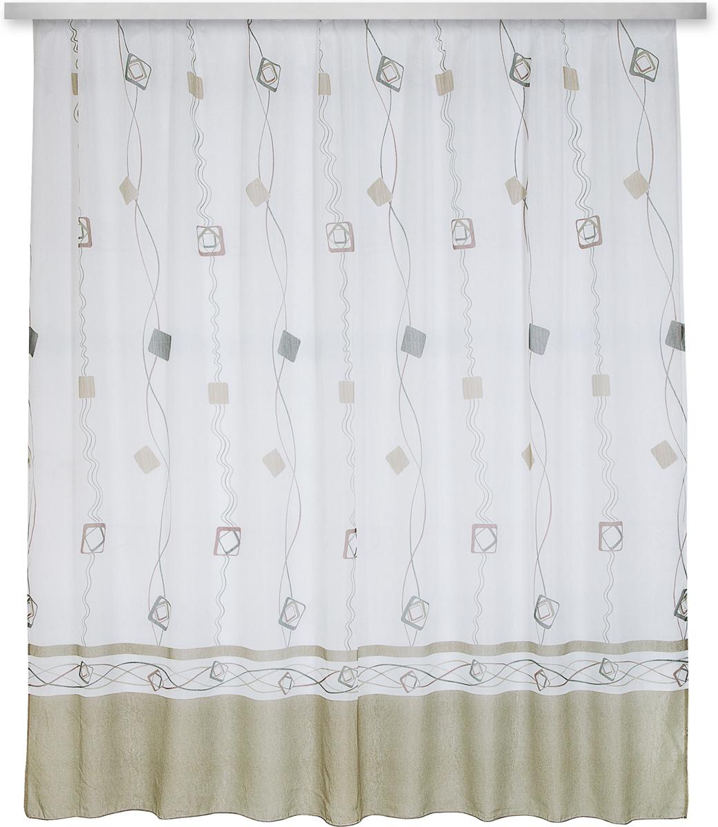 """Тюль """"Zlata Korunka"""", изготовленный из 100% полиэстера, великолепно украсит любое окно.  Воздушная ткань и приятная, приглушенная гамма привлекут к себе внимание и органично  впишутся в интерьер помещения.  Полиэстер - вид ткани, состоящий из полиэфирных волокон. Ткани из полиэстера -  легкие, прочные и износостойкие. Такие изделия не требуют специального ухода, не пылятся и  почти не мнутся. Крепление к карнизу осуществляется с использованием ленты-тесьмы.  Такой тюль идеально оформит интерьер любого помещения.Рекомендации  по уходу: - ручная стирка, - можно гладить, - нельзя отбеливать."""