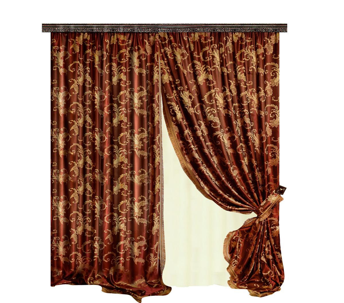 Комплект штор Zlata Korunka, на ленте: 2, цвет: бордовый, высота 270 см. 777165777165Роскошный комплект штор Zlata Korunka комплект состоит из двух штор, выполненных из 100% полиэстера, которые великолепно украсит любоеокно. Плотная ткань, оригинальный орнамент и приятная, приглушенная гамма привлекут к себе внимание и органично впишутся в интерьерпомещения.Комплект крепится на карниз при помощи шторной ленты, которая поможеткрасиво и равномерно задрапировать верх. Этот комплект будет долгое время радовать вас и вашу семью!