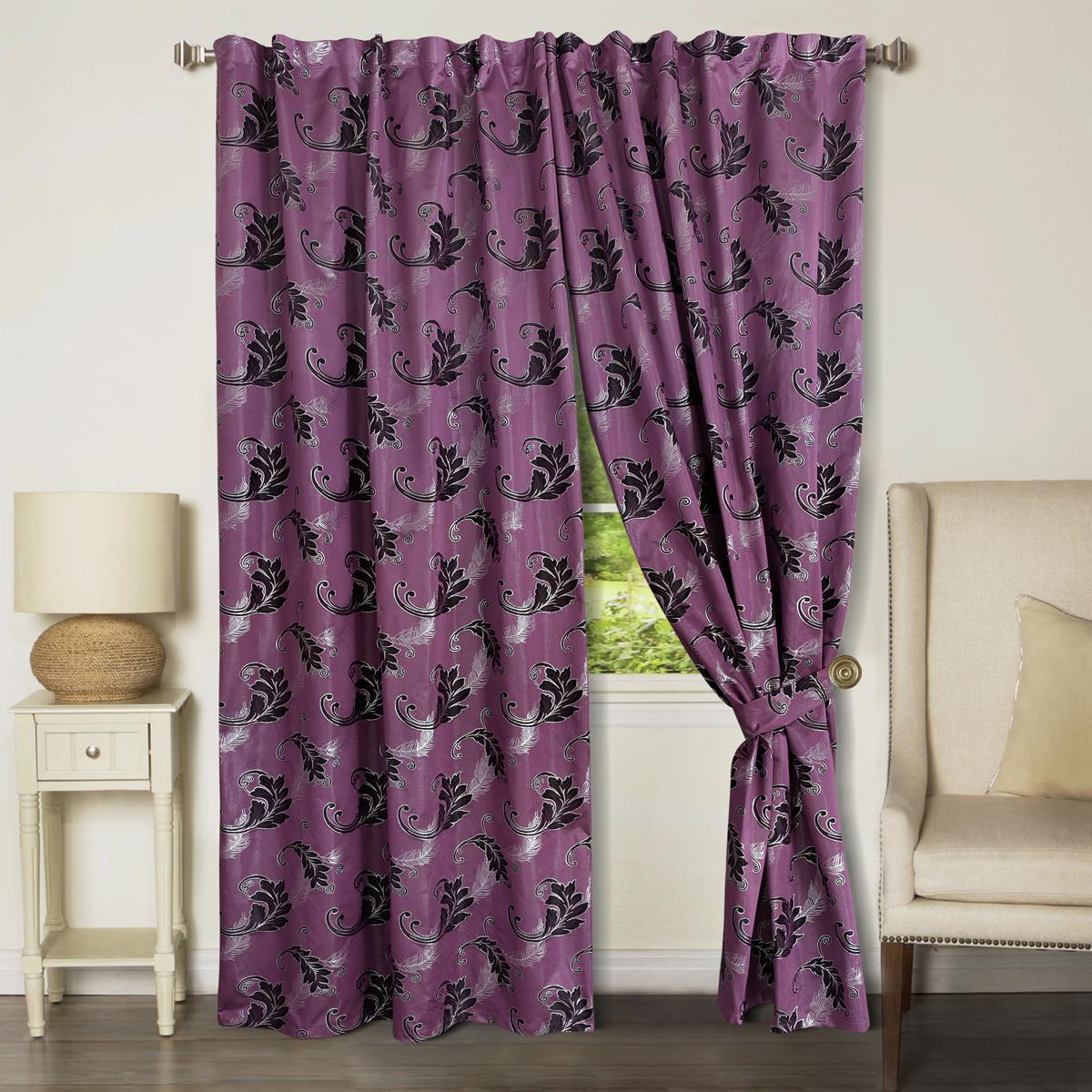 Комплект штор Zlata Korunka, на ленте, цвет: фиолетовый, высота 265 см, 2 шт. 777171777171Роскошный комплект штор Zlata Korunka комплект состоит из двух штор, выполненных из 100% полиэстера, которые великолепно украсит любоеокно. Плотная ткань, оригинальный орнамент и приятная, приглушенная гамма привлекут к себе внимание и органично впишутся в интерьерпомещения.Комплект крепится на карниз при помощи шторной ленты, которая поможеткрасиво и равномерно задрапировать верх. Этот комплект будет долгое время радовать вас и вашу семью!