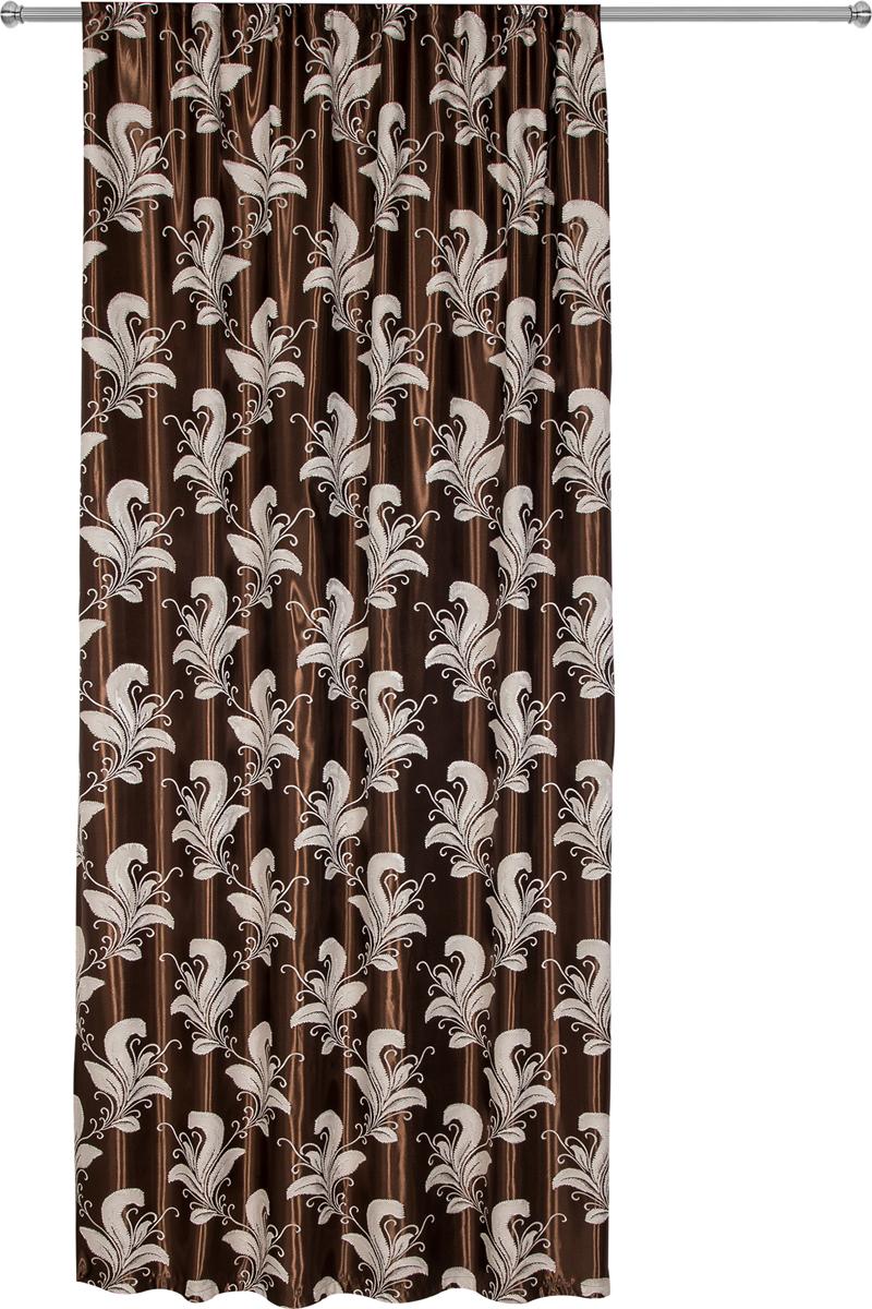 Портьера Zlata Korunka, на ленте, цвет: коричневый, высота 270 см. 777178777178ПортьераZlata Korunka из плотной ткани придаст современный вид любому интерьеру.Ткань изготовлена из 100% полиэстера. Полиэстер - вид ткани, состоящий из полиэфирных волокон. Ткани из полиэстера легкие, прочные и износостойкие. Такие изделия не требуют специального ухода, не пылятся и почти не мнутся. Крепление к карнизу осуществляется при помощи вшитой шторной ленты.