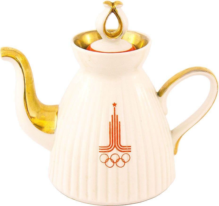Чайник с олимпийской символикой. Фарфор, роспись. СССР, 80-е годы XX века предметы с олимпийской символикой