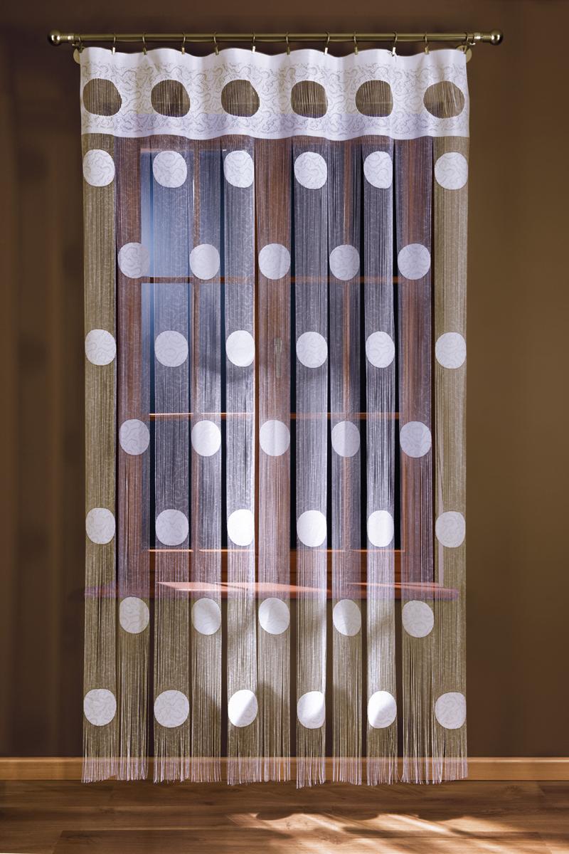 Гардина-лапша Wisan, на зажимах, цвет: белый, ширина 150 см, высота 250 см wisan 050w