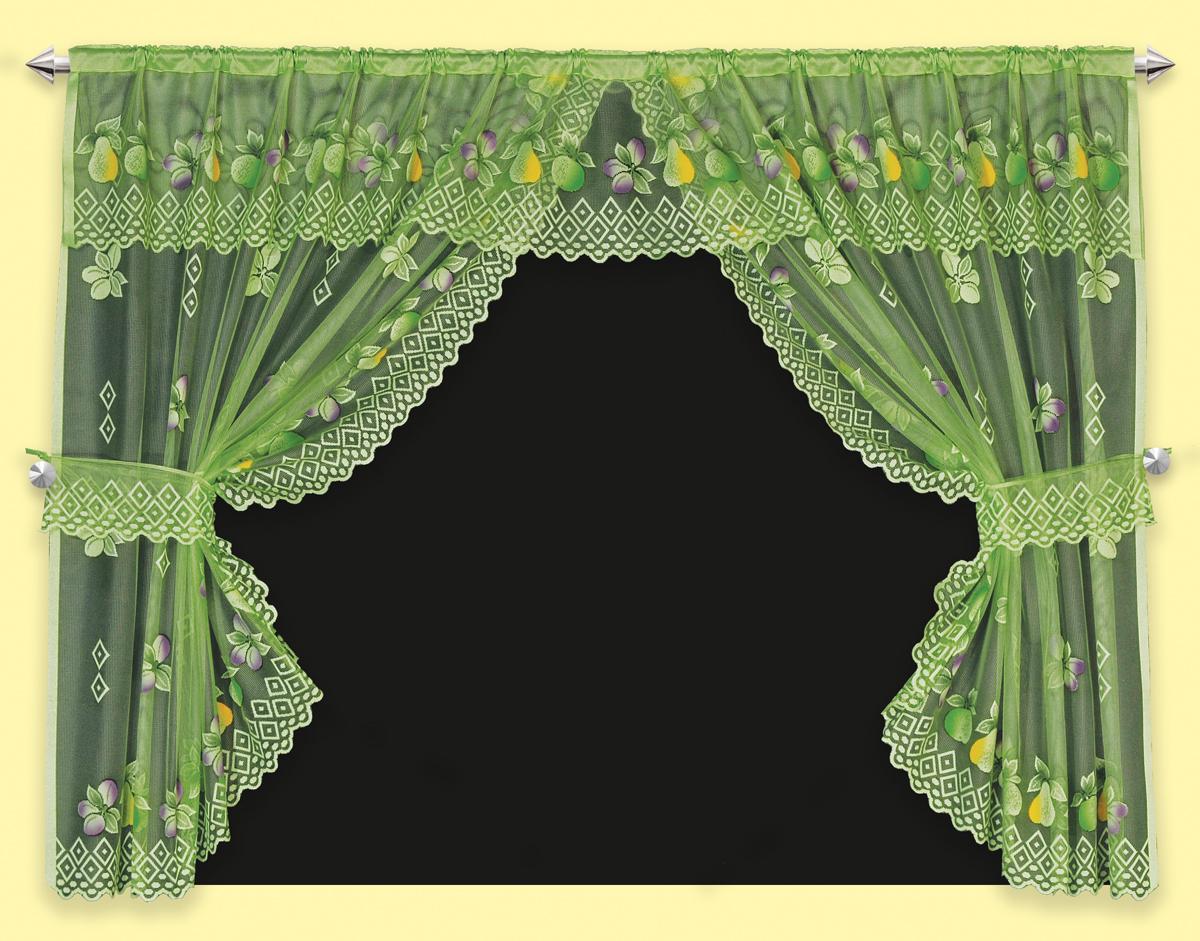 Гардина для кухни Haft, на зажимах, с 2 подхватами, цвет: зеленый, высота 137 см, ширина 254 см