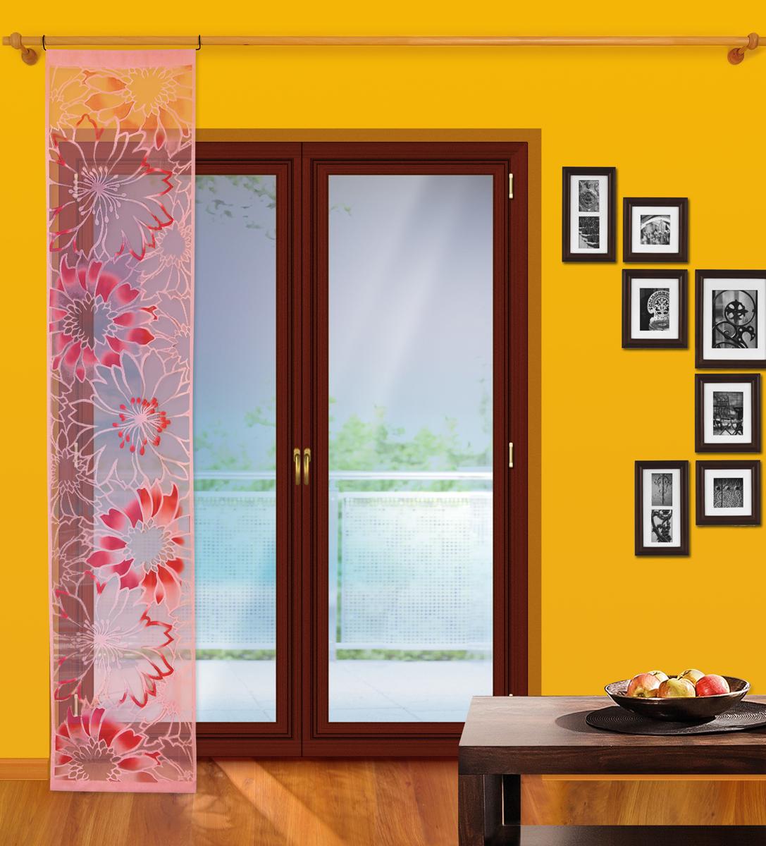 Гардина-панно Wisan, на штанге, цвет: розовый, ширина 50 см, высота 250 см wisan 050w