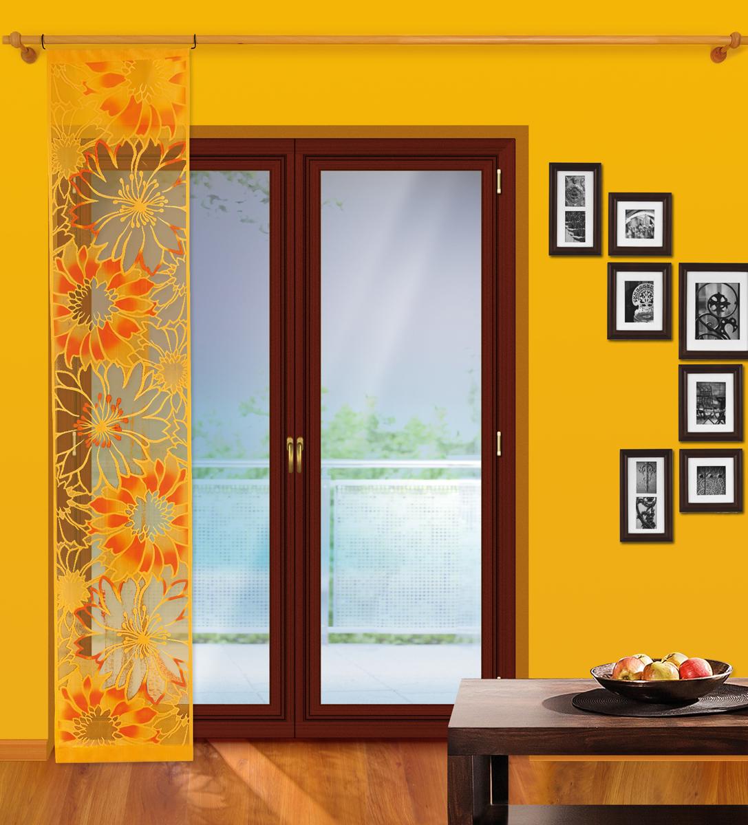 Гардина-панно Wisan, на штанге, цвет: оранжевый, ширина 50 см, высота 250 см комплект штор wisan цвет бежевый высота 250 см 550w