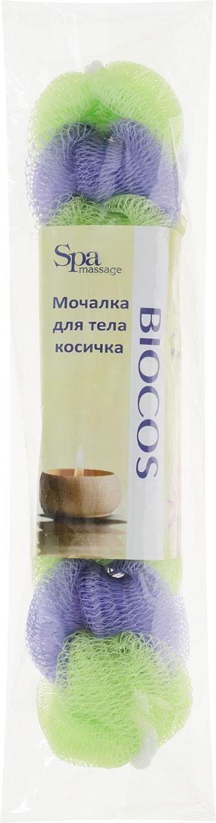 BioCos Мочалка для тела Косичка, цвет: салатовый, сиреневый5955_салатовый, сиреневый