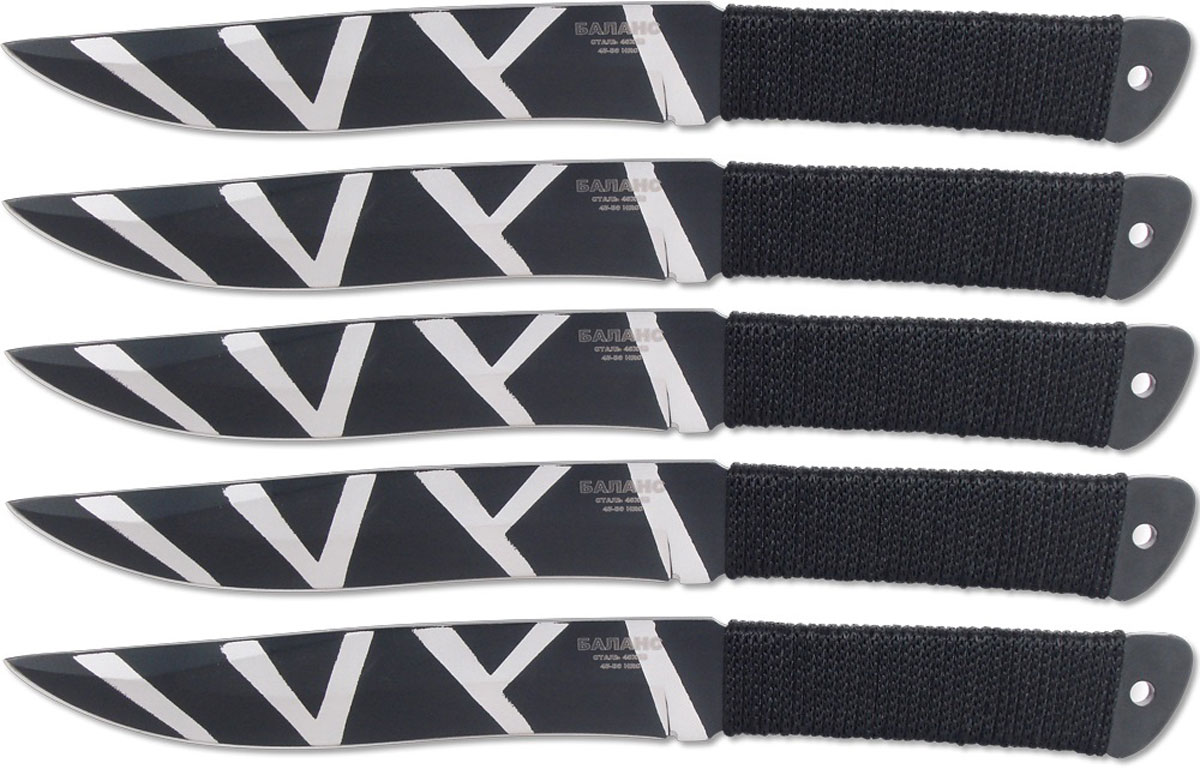 Набор ножей для спортивного метания, прекрасно подойдёт для отработки бросков. Метательные ножи НОЖЕМИР обладают высокими баллистическими характеристиками. Лезвие - клинообразное, рукоять с обмоткой. Нож изготовлен из цельнолитой пластины, материал - нержавеющая сталь 40х13. В комплект входят 5 ножей для метания и ножны для переноски и хранения.