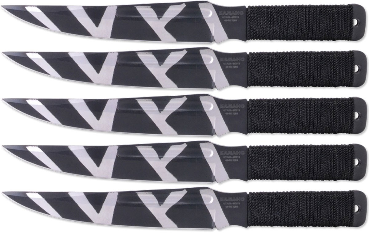 Набор ножей для спортивного метания Ножемир Баланс, нержавеющая сталь, с ножнами, длина клинка 14,3 см, 5 шт. M-115-2 нож нескладной ножемир общая длина 25 5 см с ножнами h 179