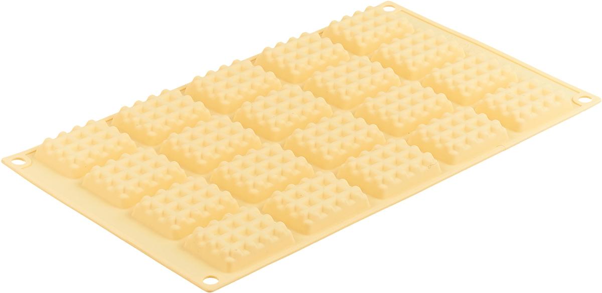 """Форма для выпечки Marmiton """"Прямоугольное печенье"""", силиконовая, цвет: желтый, 20 ячеек"""