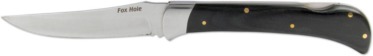 Нож складной Ножемир Fox Hole, цвет: черный, длина клинка 9,7 см. C-120C-120Аккуратный складной нож Fox Hole с увеличенным спуском лезвия для более удобного реза, нож выполнен из 440 стали, которая не подвержена коррозии и прекрасно держит заточку, а его надежный замок предотвратит закрытие ножа при работе. Накладки на ручке ножа выполнены из стабилизированной древесины.