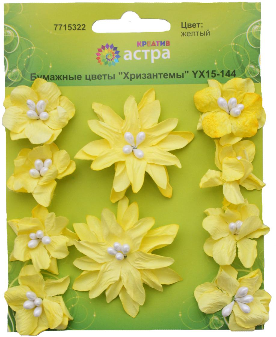 Набор декоративных цветов Астра Хризантемы, цвет: желтый, 3 х 5 см, 10 шт7715322_желтыйХризантемы изготовлены из шелковичной бумаги. Бумажные цветы - популярное и недорогое украшение в скрапбукинге и других творческих техниках. Диаметр цветков: 3 см, 5 см.В наборе 10 шт.