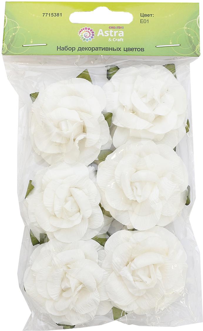 """Цветы из бумаги, со стебельком из проволоки можно использовать в технике """"скрапбукинг"""", а также для создания венков, авторских новогодних украшений, оформления подарочных коробок и пакетов и многого другого.Размер цветков: 4,3 х 2 см.В упаковке: 6 цветков."""