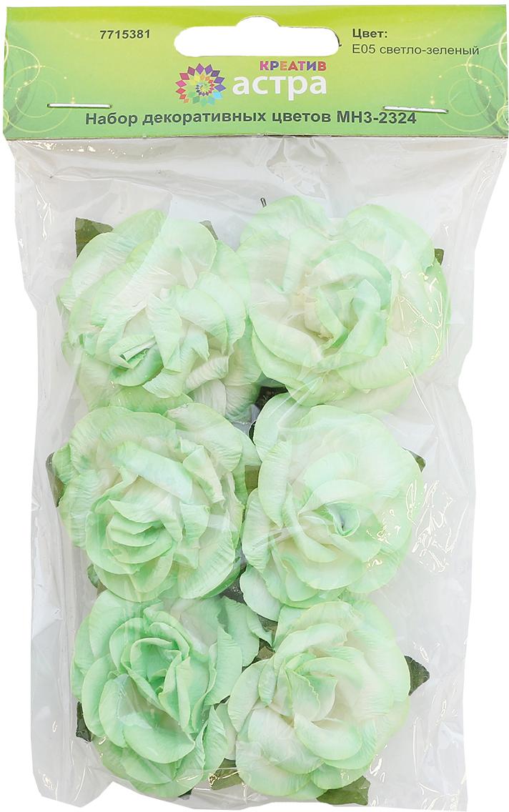 Цветы из бумаги, со стебельком из проволоки. Назначение: скрапбукинг, создание венков, авторских новогодних украшений, оформление подарочных коробок и пакетов и многое другое.Размер цветка: 4,3 х 2 см.В упаковке 6 цветков.