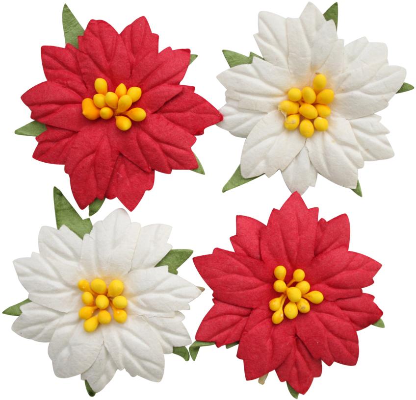 Цветочки пуансеттии с тиснением изготовлены из шелковичной бумаги. Они станут готовым украшением для любых скрап-работ и других творческих техник. Диаметр цветка: 4 см. Количество: 4 шт.
