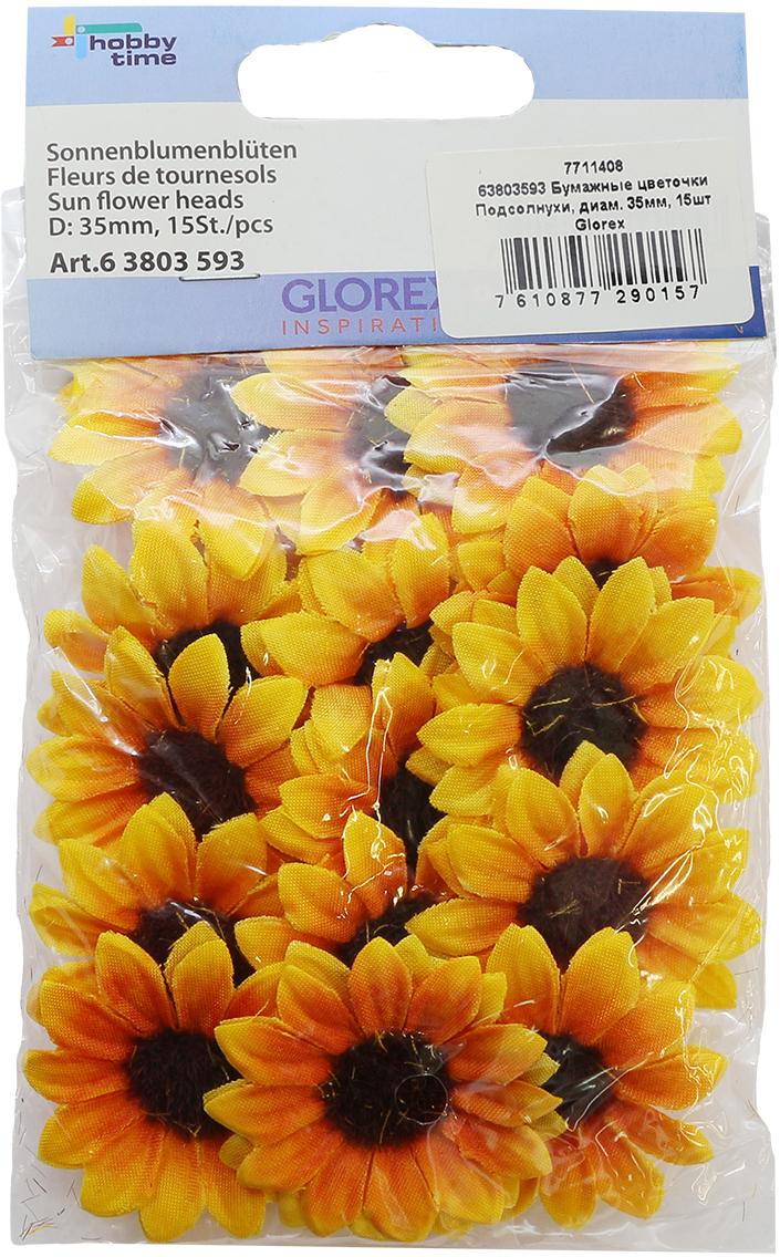 Набор декоративных цветов Glorex Подсолнухи, диаметр 3,5 см, 15 шт суперпредложение набор семян огуречный из 15 упаковок