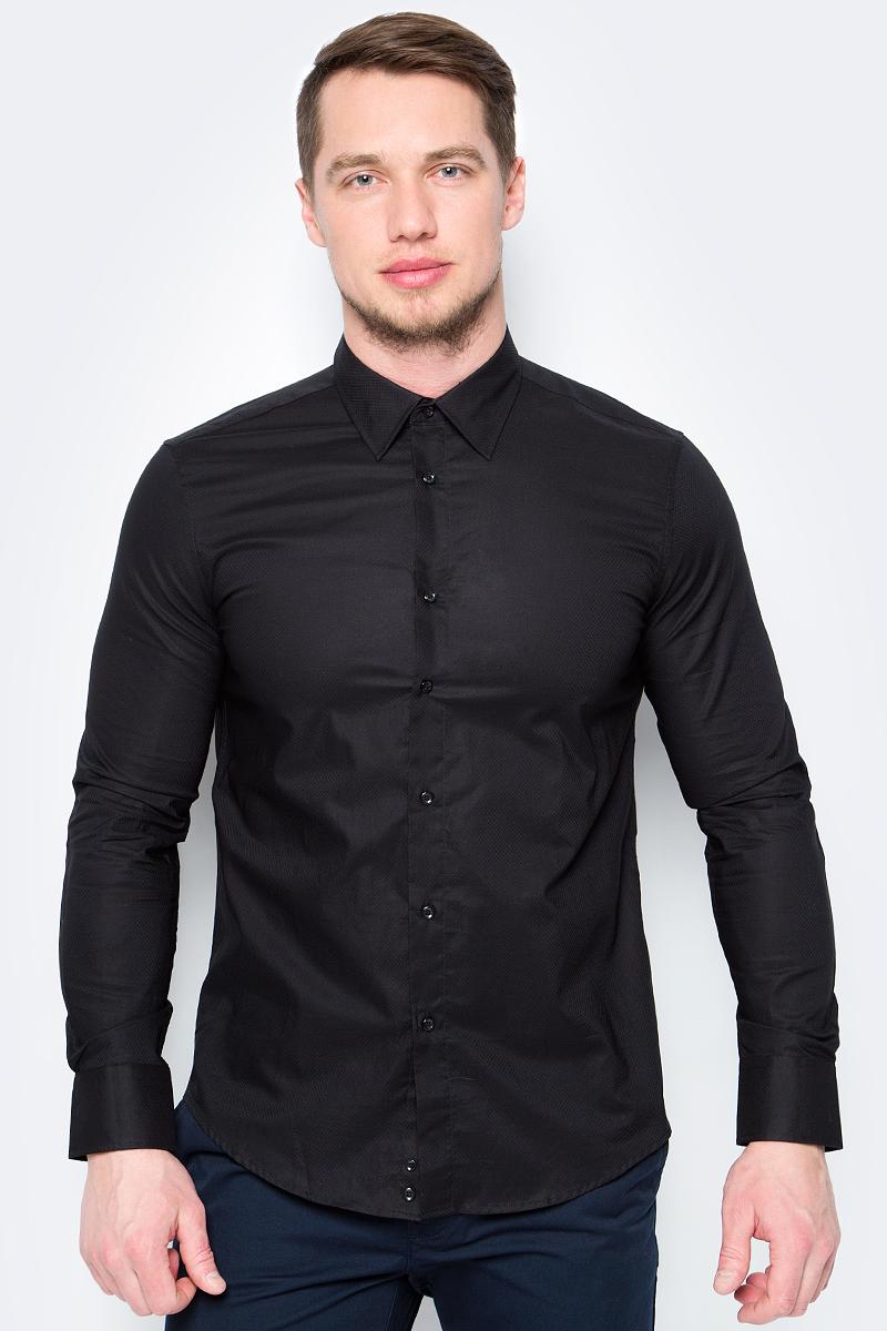 Рубашка мужская United Colors of Benetton, цвет: черный. 5XA05QF88_904. Размер M (48/50)5XA05QF88_904