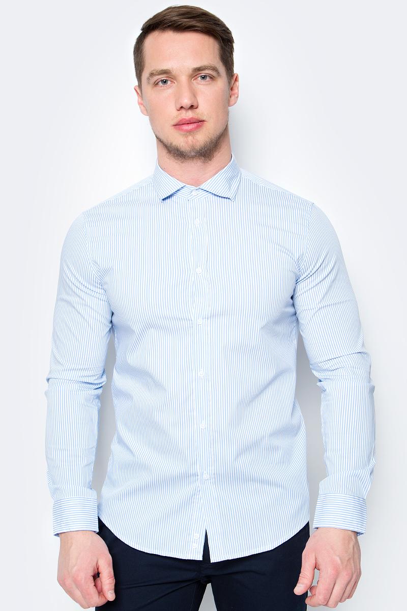 Рубашка мужская United Colors of Benetton, цвет: голубой, белый, полоски. 5BRP5QDT8_972. Размер L (50/52)5BRP5QDT8_972
