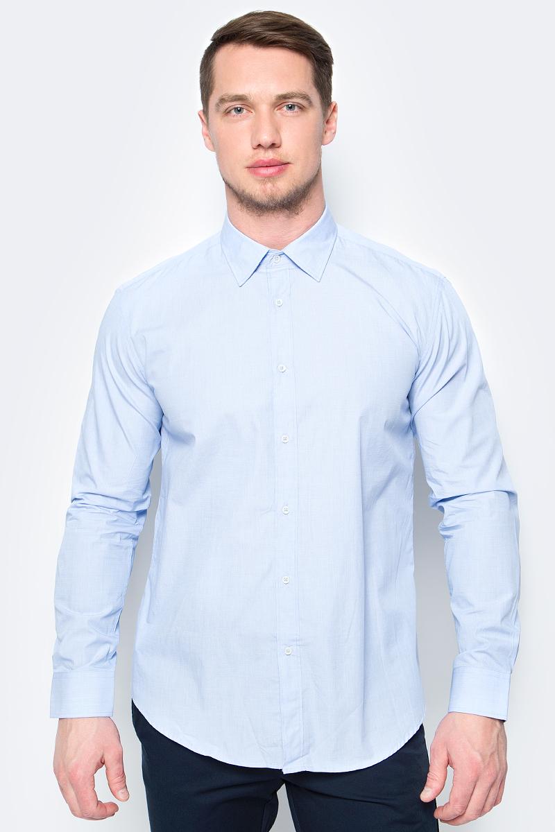 Рубашка мужская United Colors of Benetton, цвет: голубой. 5APT5QE08_980. Размер XL (52/54)5APT5QE08_980Рубашка от United Colors of Benetton выполнена из натурального хлопка. Модель с длинными рукавами и отложным воротником застегивается на пуговицы. Манжеты рукавов на пуговицах.